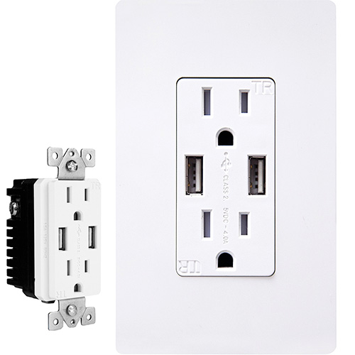 USB Wall Outlet Power Adapter for Charging